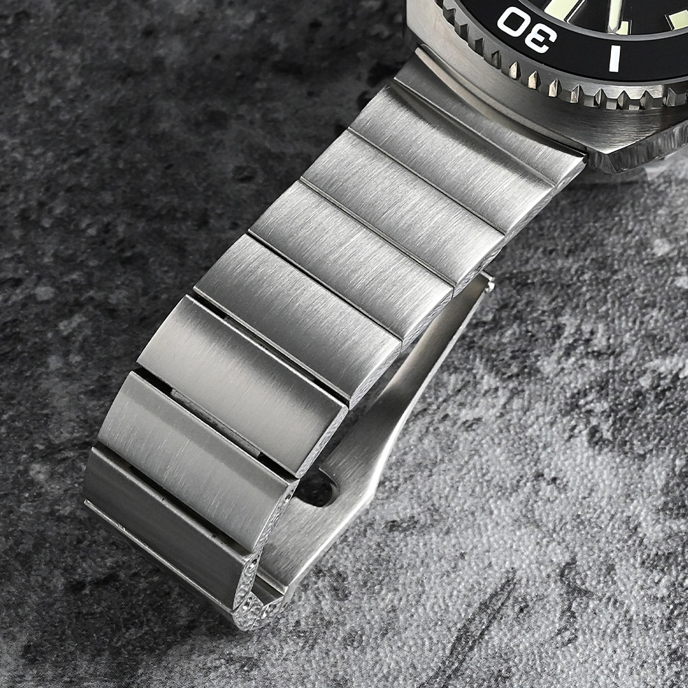 San Martin Bracelet High Quality 316L Solid Stainless Steel Watch Parts Two Links Flat Ends 20mm Brushed Clasp Universal Strap enlarge