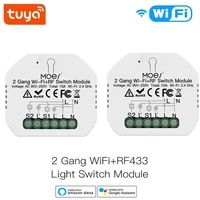 Module interrupteur declairage intelligent Tuya  2 boutons  2 voies  WiFi  RF433  controle a distance  application Smart Life  fonctionne avec Alexa Google Home