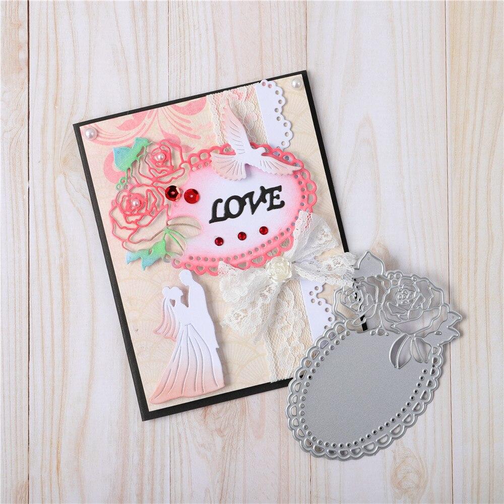 YaMinSanNiO Rose borde de encaje Metal troqueles marco Scrapbooking para hacer tarjetas arte decorativo en relieve plantilla troquelada