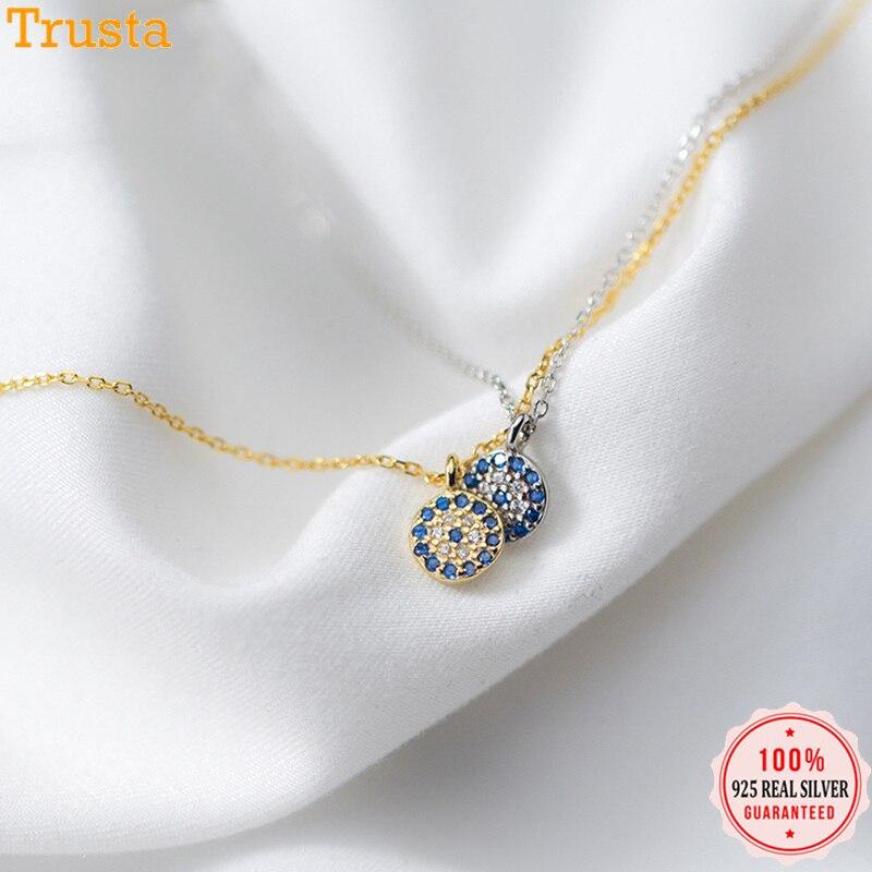 Trusta 2018 100% 925 цельное ювелирное изделие из стерлингового серебра 6 мм кулон с голубыми глазами 40 см короткое ожерелье ключицы милый подарок девушка леди DS902
