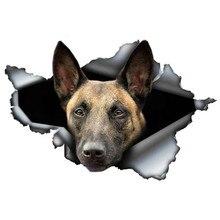 EARLFAMILY belge Malinois autocollant de voiture déchiré métal décalcomanie autocollants réfléchissants étanche berger belge chien de compagnie 3D décalcomanies