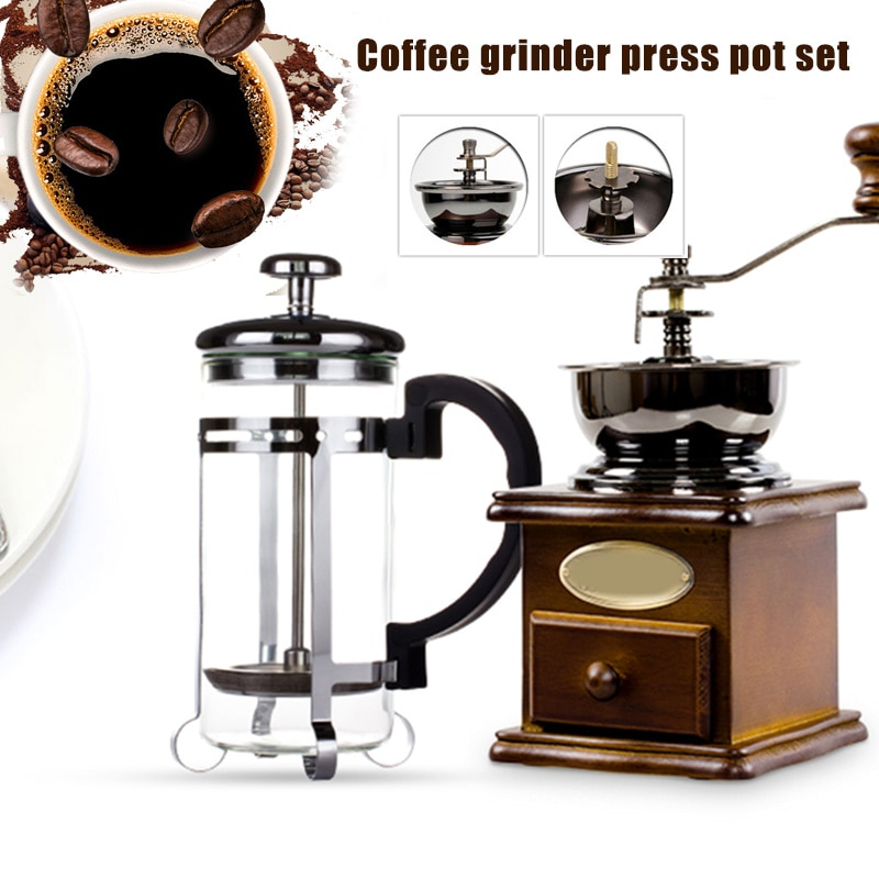 طاحونة الصحافة وعاء مجموعة دليل طاحونة القهوة صانع القهوة خشبية دليل المطاحن TT-best
