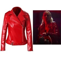 movie freaky millie cosplay costume deranged serial killer butcher trendy red pu jacket for adult women cosplay jackets