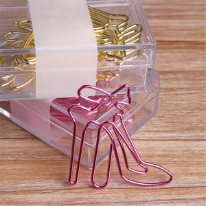 8 Pcs/Box Gold Pink Creative Paper Clips Decorative Colorful Decor for Office Stationery High-Heeled Shoes Paper Clip
