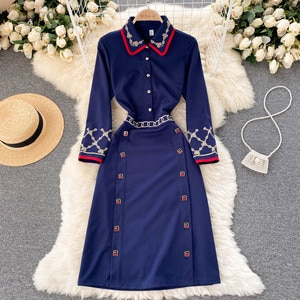 Autumn Winter New Fashion Vintage Embroidered Long Sleeve Work OL Elegant Dress Brand Designer Party Vestidos