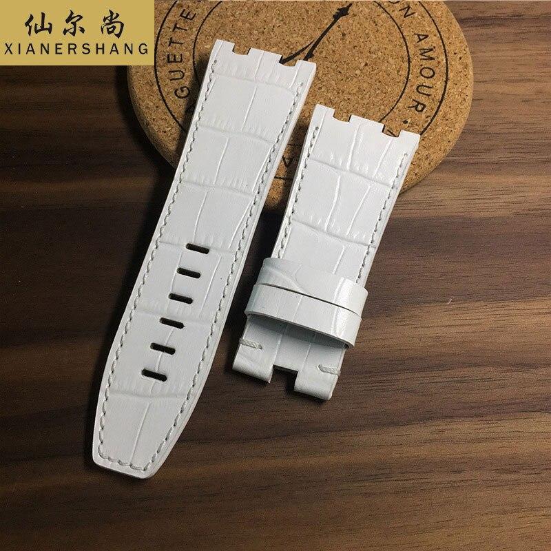 Pulseira de Relógio de Couro Genuíno de Luxo da Pele de Crocodilo de 26mm 28mm