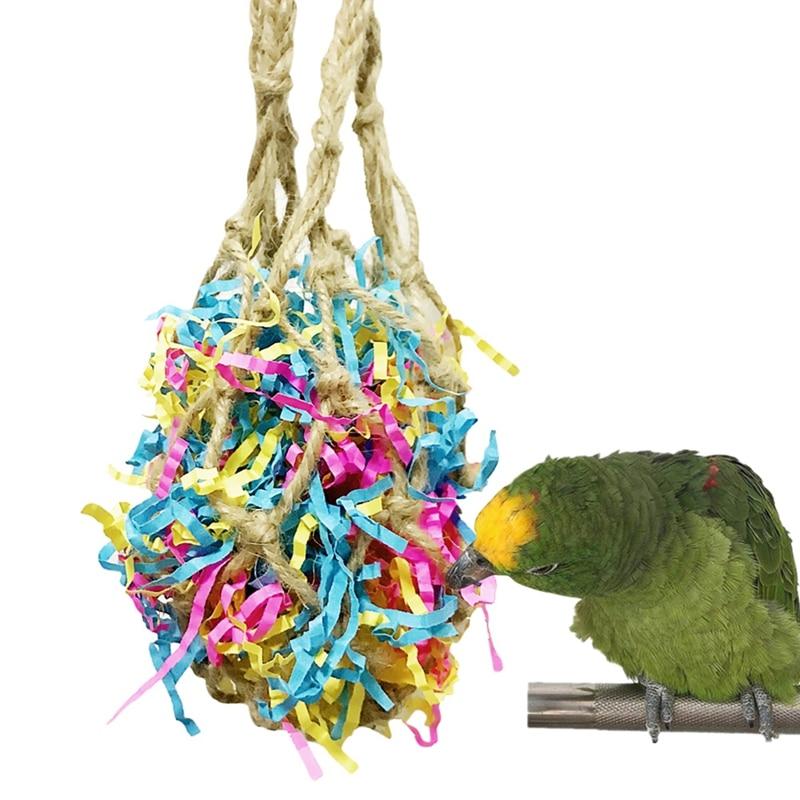 Loro Bite-resistente colgando juguete del animal doméstico juguete de cuerda, bolsa de malla, incluyendo alambre colorido-se