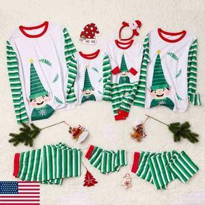 2019 New Festival Family Matching Kids Mom Dad Christmas Pajamas Sets Striped Cartoon Print Xmas Sleepwear Nightwear Pjs Pyjamas