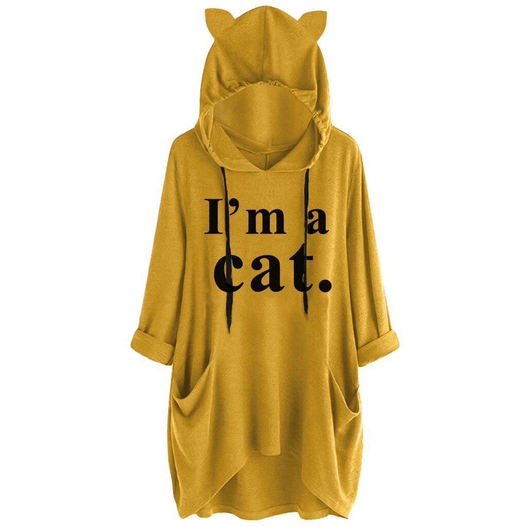 Mujeres Casual hoodies mujeres manga larga gato oreja estampado bolsillo camisa Irregular Top blusa sudadera mujer bluza damska bluzy