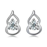 silverhoo earrings for women 925 sterling silver gourd shape bright clear cubic zirconia jewelry personality female stud earring
