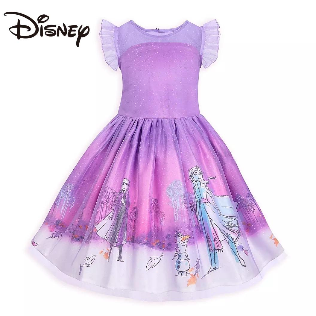 Disney Child Girl Frozen Princess Dress Girls' Spring and Autumn Dress Fresh Gauze Dress long skirts for women skirts