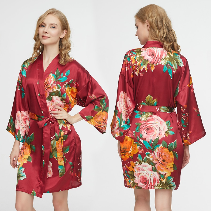 Women Silk Satin Floral Robe Bridesmaid Bride Robes Wedding Bridal Mother Sister Gown Bathrobe Dress