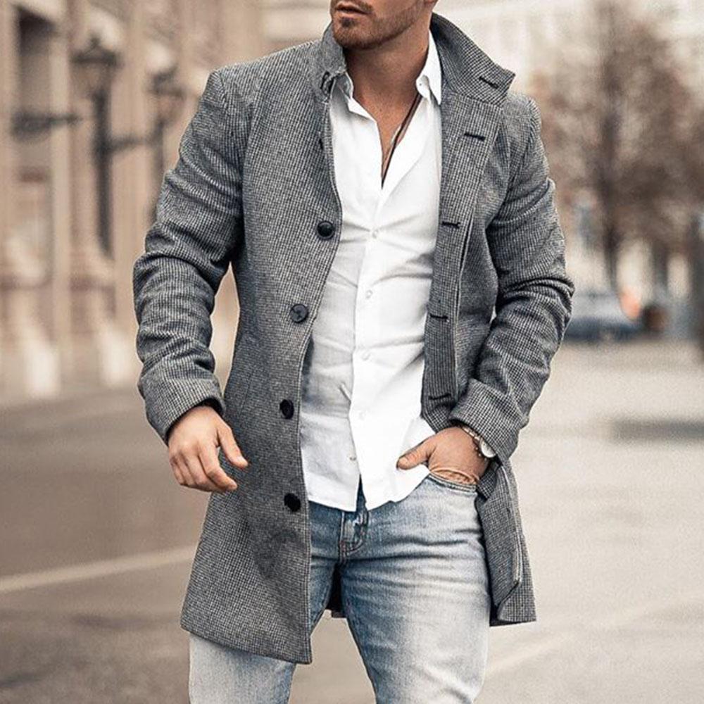 مستقيم طويل معطف واقٍ من المطر رقيقة الرجال سترة معطف الخريف 2020 بسيط رمادي الأعمال عارضة شابة الأزياء السترات المتضخم 4XL