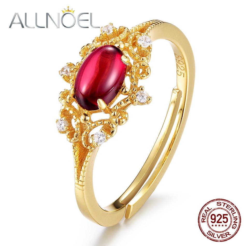 Allnoel 925 anéis de prata esterlina natural moissanite granada pedra preciosa 14k ouro luxo anel de casamento presente retro atacado lotes a granel