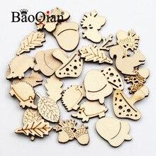 50 unids/lote Natural de madera Scrapbook Animal y vegetal formas pintado casa decoración manualidades Diy virutas de madera de 25-30mm
