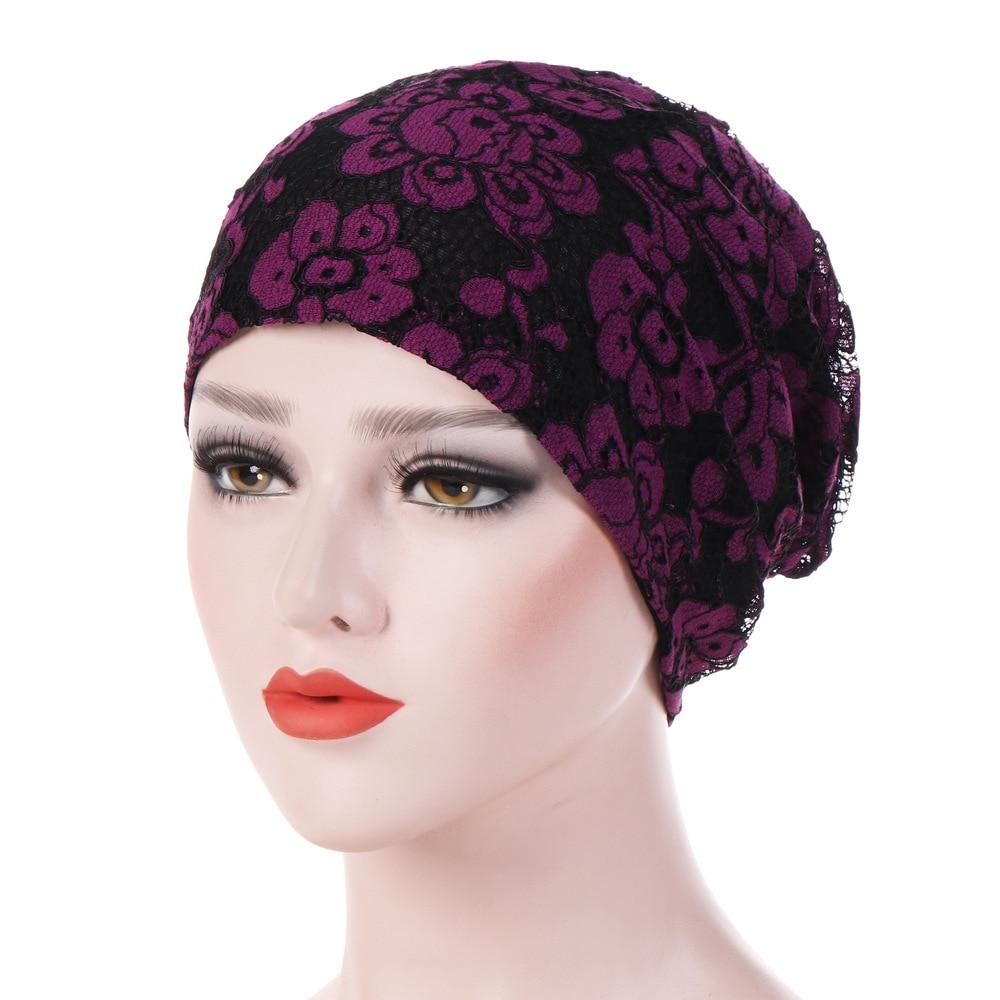 Женская мусульманская кружевная Кепка Chemo, тюрбан для раковых пациентов, потеряют волосы, шляпа, мусульманские шляпы для молитв