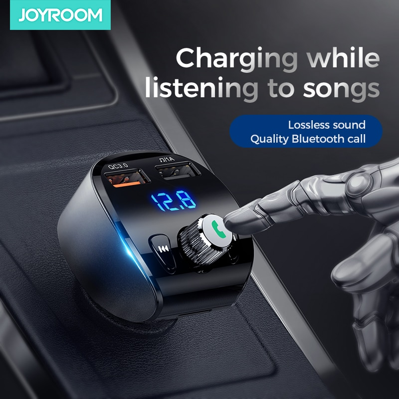 Joyroom bluetooth 5.0 transmissor fm usb aux modulador handsfree áudio do carro mp3 player 3.1a carga rápida carregador de carro duplo usb