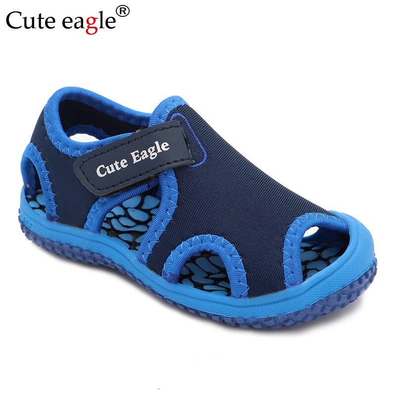 Bonitos zapatos de verano con diseño de águila para niñas, sandalias para niños pequeños, cómodos zapatos planos de pedicura antideslizantes, zapatos de playa para niños Baotou, novedad