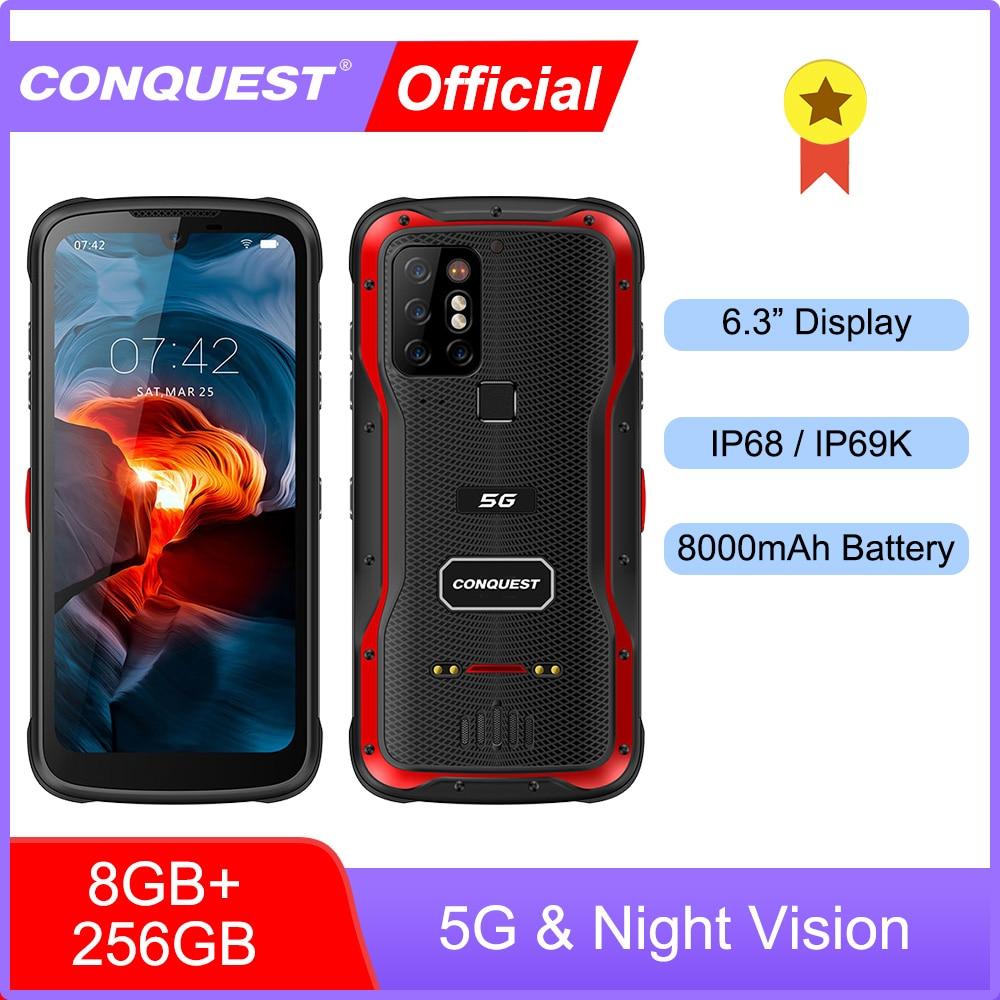 Перейти на Алиэкспресс и купить CONQUEST S20 5G Ночное видение смартфон IP68 Водонепроницаемый 48MP четыре Камера 8 Гб Оперативная память 256 ГБ Встроенная память 6,3 дюймов глобальная ...