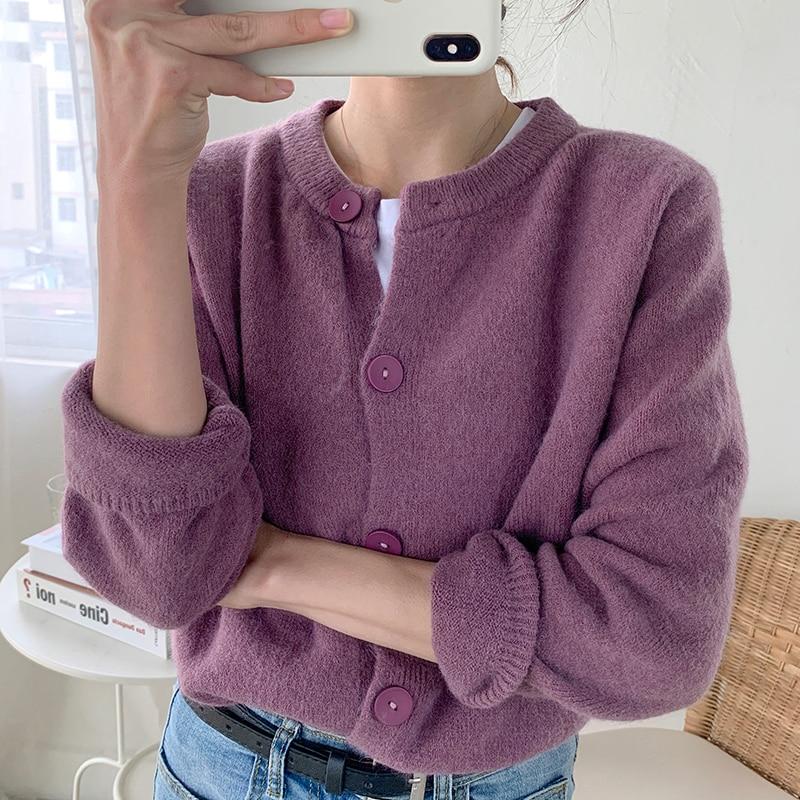 Zoki Autumn Women Cardigan Sweater Long Sleeve Single Breasted Knitted Short Coat Causal Chic O Neck Korean Female Outwear 2021