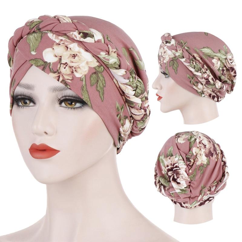 Cotton print muslim turban scarf for women islamic inner hijab caps Arab wrap head scarves femme mus
