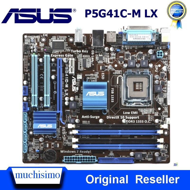 LGA 775 DDR2 DDR3 placa base Asus P5G41C-M LX escritorio G41 Socket...