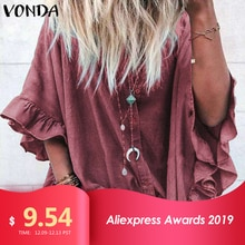 VONDA Blouse Women 2020 Casual Loose Lapel Neck  Sleeve Ruffle Blouse Sexy Office Ladies Shirts Tunic Plus Size Tops 5XL