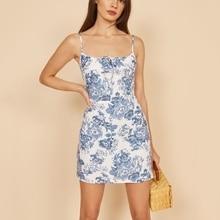 Vintage Floral Sexy Lace Up Ruched Women Spaghetti Strap Sundress Summer Backless Mini Dresses Slim Elegant Vestido