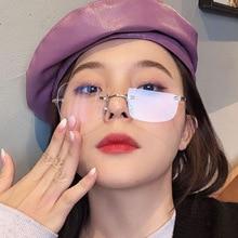 2021 New Fashion Brand Design Vintage Rimless Pilot Sunglasses Women Men Retro Cutting Lens Gradient