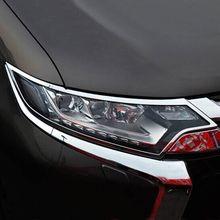 Accessories chrome front headlight lamp cover trim molding garnish head light for Mitsubishi Outlander 2016 2017 2018