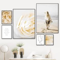 flower woman sandy beach line face quotes wall art canvas painting nordic posters and prints wall pictures for living room decor