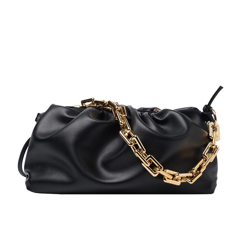 Solid color pleated cloud underarm tote bag 2021 gold chain dumpling clip wallet leather lady designer handbag shoulder bag