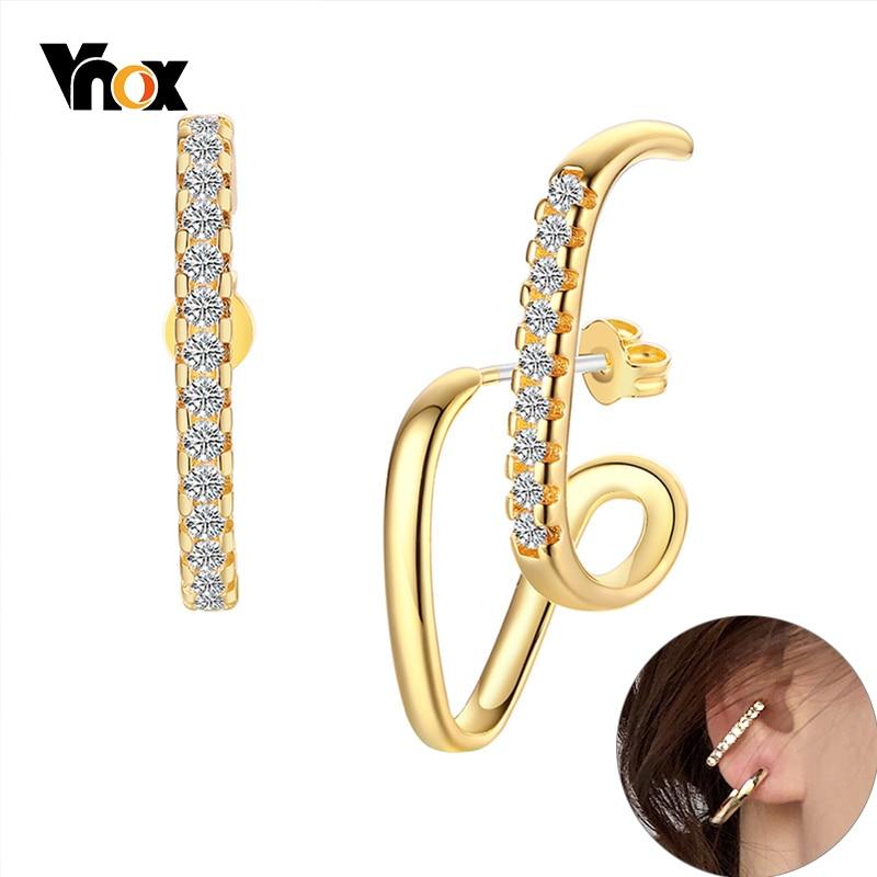Vnox stylowa asymetria kobiety kolczyki AAA CZ kamień metalowa obręcz Shinny Bling Crytals biżuteria ucha Chic szczery Temperament biżuteria