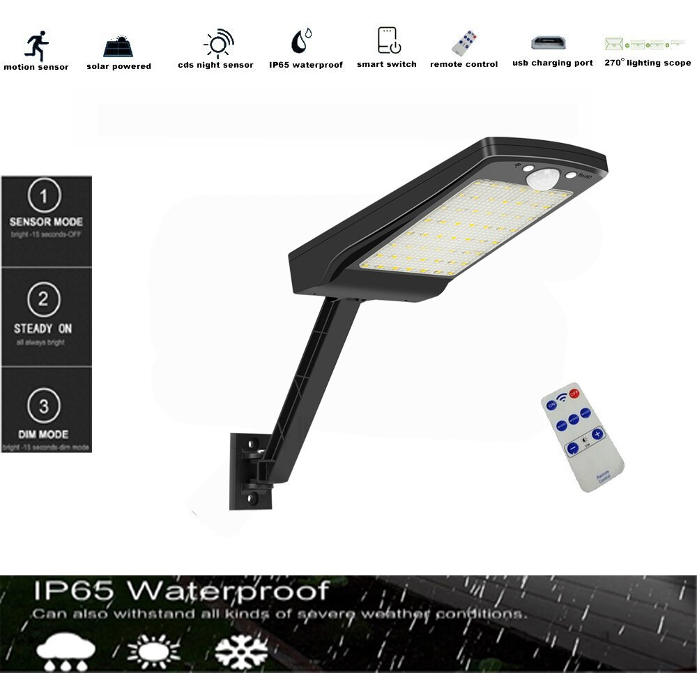 solar landscape lights outdoor 56LED Wide Angle 3 Optional Modes IP65 Waterproof Easy to Install Motion Sensor Porch Lights