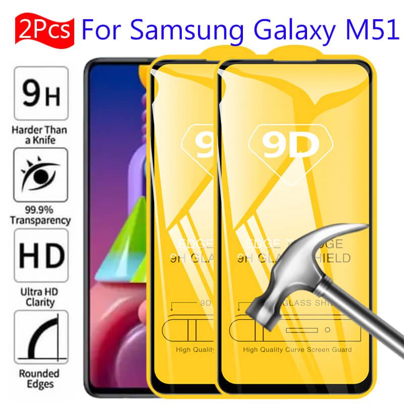 9d samsun m51 vidro para samsung galaxy m51 vidro protetor 2 pçs cobertura completa 3d samsang a12 a51 m31s m 51 m51 protetor de tela hd