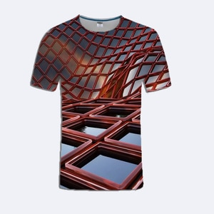 Summer Men's Round Neck Short Sleeve Funny Design 3D Red Line Perspective Wave Print T-Shirt Men