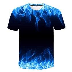 Camiseta estampa de chamas azul fria para meninos e meninas, camiseta 3d de manga curta, blusa casual camiseta com camiseta