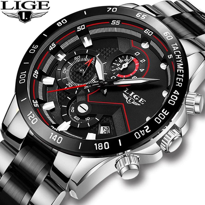 LIGE, военные часы для мужчин, ремешок из нержавеющей стали, водонепроницаемые, черные кварцевые наручные часы, хронограф, мужские модные спор...