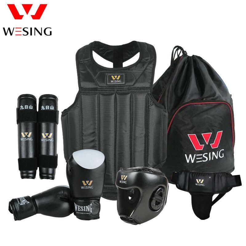 Wesing Wushu Sanda Sets 6PC equipo protector pecho casco protector protección equipamiento de Sanda