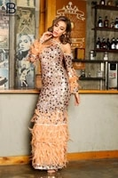pb chic sequins feather design long dress sexy off shoulder long sleeves celebrity party club vestido