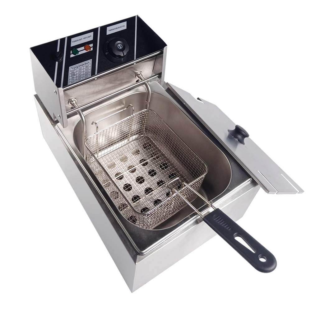 Freidora eléctrica de 10L para el hogar, freidora de patatas fritas de un solo tanque, de acero inoxidable, freidora comercial de pollo, aceite de 6L