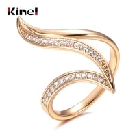 kinel new fine hyperbole curve women rings white round micro wax inlay natural zircon 585 rose gold fashion jewelry unique ring
