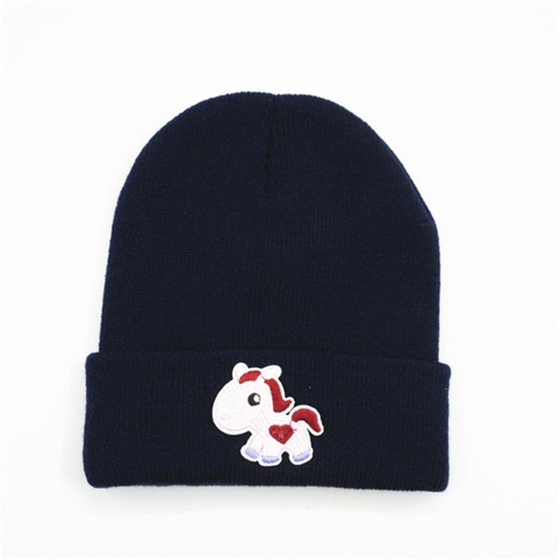 Cartoon horse embroidery Thicken knitted hat winter warm hat Skullies cap beanie hat for kid men and women 241