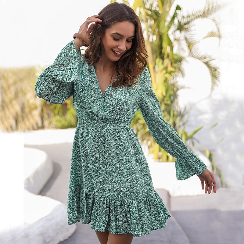 Sexy V Neck Green Summer Dress Women Print Casual ruffle Dress Elegant Holiday Beach Female Vestidos Long Sleeve