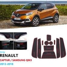 Anti-Slip Rubber Gate Slot Cup Mat For Renault Captur 2013 2014 2015 2016 2017 2018 Door Groove Mats Car Accessories Samsung QM3