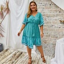 Vestido de talla grande para mujer, a la moda de 2020, vestido Sexy de algodón con cuello de pico y estampado Floral para playa, vestido de verano con flecos delgado para fiesta, 4XL