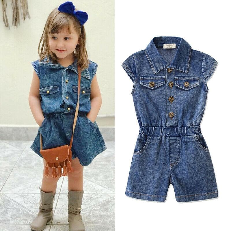 2-7Y Summer Infant Newborn Baby Girls Denim Romer Short Sleeve Elastic Waist Blue Jumpsuits Summer Clothes Outfit