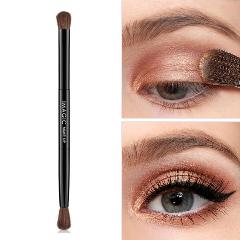 1PC Pony Hair Double-headed Eyeshadow Brush Makeup Brush Portable Single Nose Shadow Smudge Brush Co
