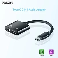 2 in 1 type c to 3 5 mm earphone jack adapter usb c audio cable converter charging headphone splitter for huawei p30 p20 xiaomi