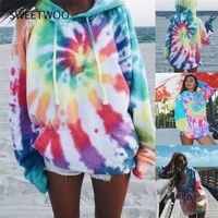 2021 sweater jacket womens tie dye gradient color printing hooded long sleeve casual pullover sweater